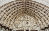 Detail of Cathedral Notre Dame de Paris - a most famous Gothic,  — Stock fotografie