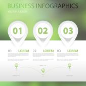 Infographics vector illustration numbered banners on green blur background — Stock Vector