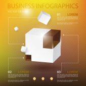 3d modern infographics realistic cube with glass element and place for text on blur background — Stock Vector