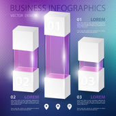 3d modern infographics realistic balls with place for text on blur background abstract numbered infographic — Vetor de Stock