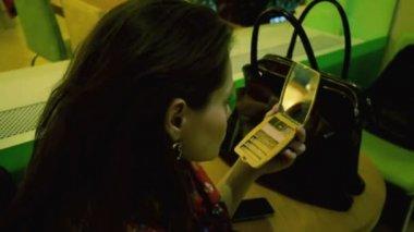 Woman improving makeup — Stock Video