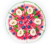 Watermelon pizza on white — Stock Photo