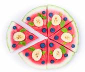 Watermelon pizza on white — Stock Photo