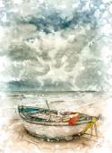 Boats on the beach of Da Nang city, Vietnam — Stock Vector