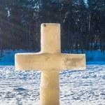 Ice christian cross — Stock Photo #72789763