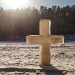 Ice christian cross — Stock Photo #72789769
