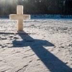 Ice christian cross — Stock Photo #72789777