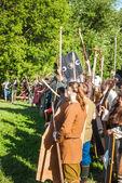 旧时的 Boudicas 叛乱的历史重现 — 图库照片