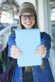 Cute student in college — Stock Photo