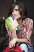 Gorgeus short hair woman with books — Stockfoto