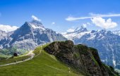 Famous Eiger, Monch and Jungfrau mountains in the Jungfrau regio — Foto Stock