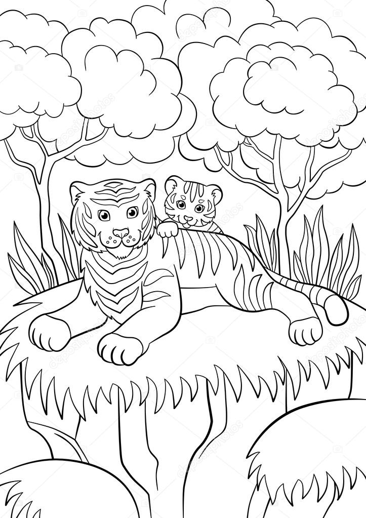coloring pages wild animals smiling mother tiger with her little cute baby tiger in the forest u2013 stock - Baby Forest Animals Coloring Pages