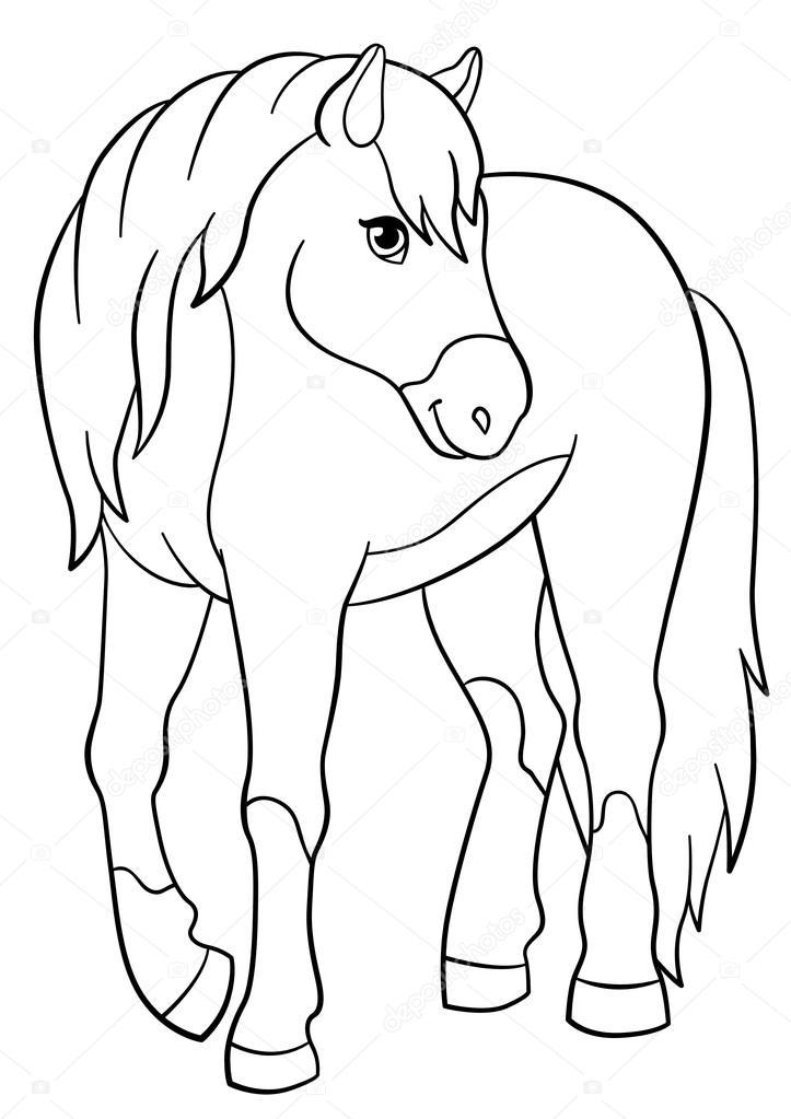 Dibujos para colorear. Animales de granja. Lindo caballo ...