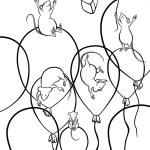 Mice flying on balloons — Stock Photo #52351639