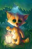 Little fox with lantern in the forest — Stockfoto