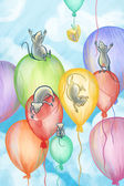 Mice flying on balloons — Stock Photo