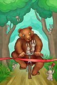Bear is racing on bicycle in the forest — Stockfoto