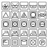 Laundry care symbols. Set of textile care icons. Wash, care signs. — Stock Vector