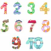 Numbers like fairy houses — Stock Vector
