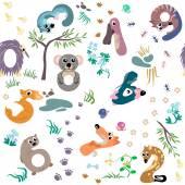 Numbers like Australian animal seamless pattern — Stockvektor