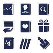 Icons for actions with books — Stock Vector