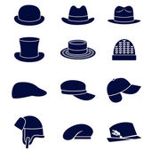 Different types of men hats — Stock Vector
