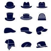 不同类型的男士帽子 — 图库矢量图片