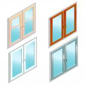 Different types of windows in isometric view — Stock Vector