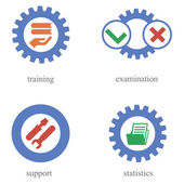 Concept of icons about automation of training — Stock Vector