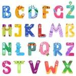 Consonants of the Latin alphabet like different monsters — Stock Vector #70852771