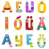 Vowels of the Latin alphabet like different robots — ストックベクタ