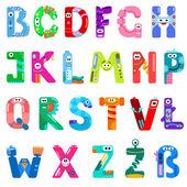 Consonants of the Latin alphabet like different robots — Stock Vector