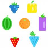 Different types of fruits as simple shapes and in colors of rainbow — Stock Vector