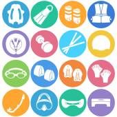 アイコンとしての水泳のためのアクセサリーの種類 — ストックベクタ
