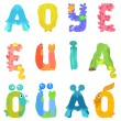 Vowels of the Latin alphabet like sea inhabitants — Stock Vector #78938002