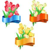 Ramos de tulipanes con cinta festiva — Vector de stock