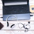 Computer Peripherals & Laptop Accessories. Composition on white — Stock Photo #59537013