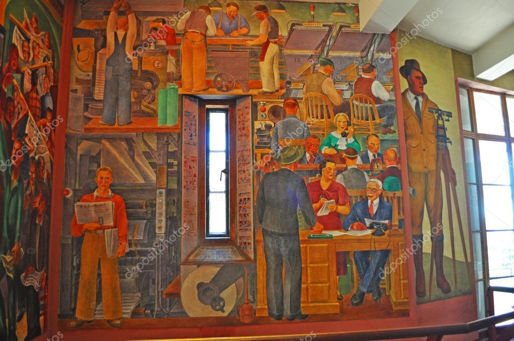 Murale affresco al coit tower foto editoriale stock for Coit tower mural