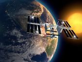 International Space Station in orbit around the earth. — Stock Photo
