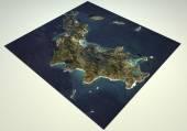 St. Barts island satellite view map — Stock Photo