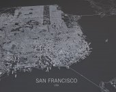 San Francisco streets and buildings map — Stockfoto
