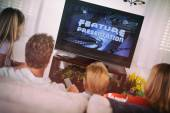 Family: Watching A Movie On The Couch — Stock Photo