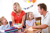 Birthday: Family Celebrates Young Girl's Birthday — Foto de Stock