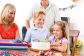 Birthday: Young Girl Ready To Blow Out Birthday Cake Candle — Foto de Stock