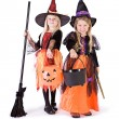Halloween: Two Cute Witches Ready For Candy — Stock Photo #52110517