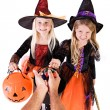 Halloween: Girls Get Halloween Treats From Anonymous Adult — Stock Photo #52110525