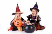Halloween: Little Girls Ready To Grab Halloween Candy — Foto de Stock
