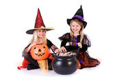 Halloween: Little Girls Ready To Grab Halloween Candy — Стоковое фото