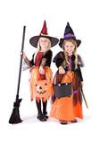 Halloween: Two Cute Witches Ready For Candy — Стоковое фото