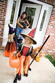 Halloween: Girl Ready For More Trick Or Treat After Getting Cand — Foto de Stock
